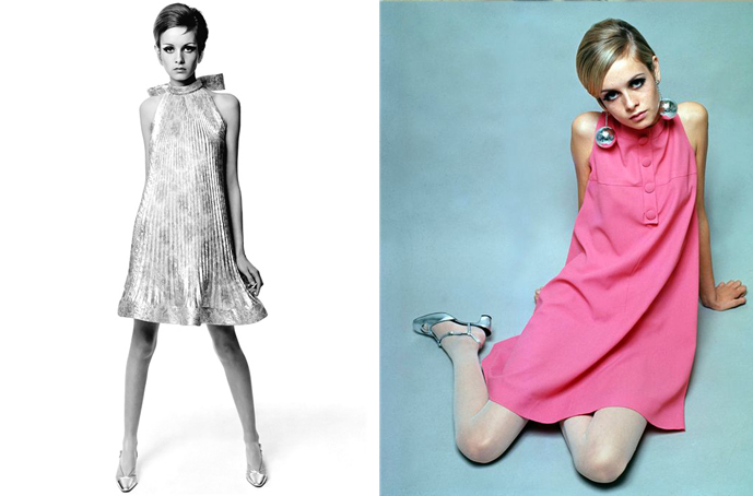 Twiggy wearing silver Pierre Cardin dress photographed by Bert Stern in 1967, Twiggy in pink dress in 1966 via fashioned by love british fashion blog
