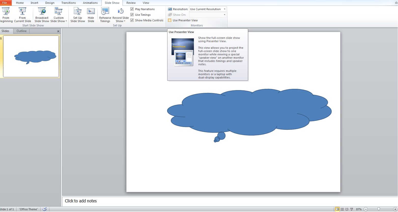 how to change presenter view in powerpoint 2013