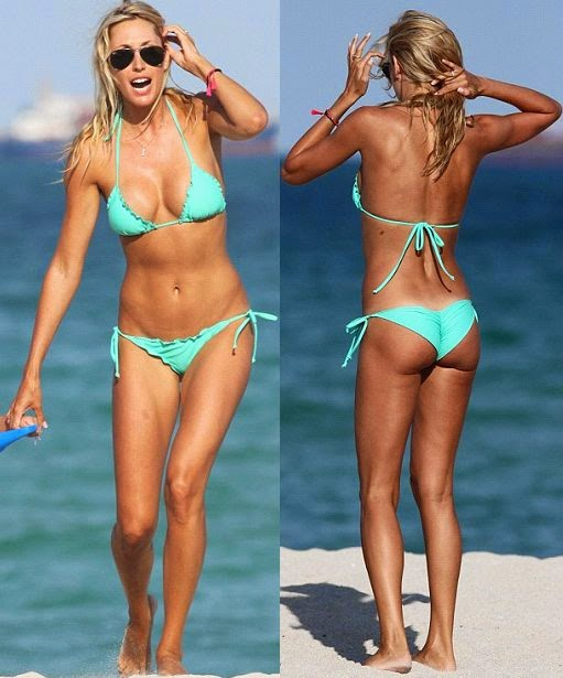 Lauren Stoner wears an aquamarine bikini at Miami, FL, USA on Thursday, April 24, 2014