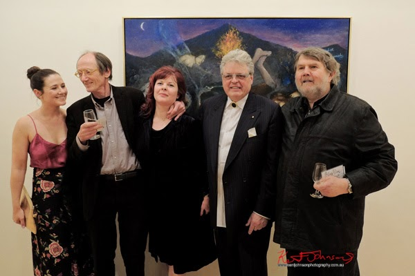 Group portrait, Lilla Shead, Garry Shead, Rose Gissing, Stuart Purves and Sasha Grishin - Garry Shead at Australian Galleries Sydney, Photographed by Kent Johnson.