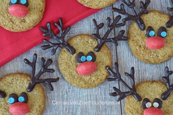 Rudolph met zijn rode neus kerst koekje