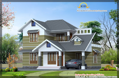 Beautiful Villa Elevation   1734 Sq  Ft    Kerala home design and