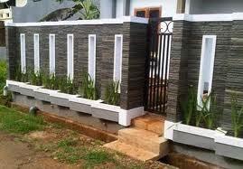 desain pagar rumah, pagar rumah batu alam, pagar taman minimalis
