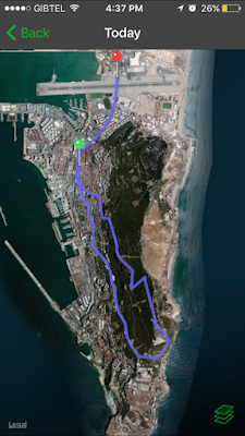 Our walking path. Red is the starting point. Green is our stop and snack point