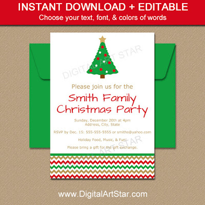 Instant Download editable Christmas Tree Invitation Template