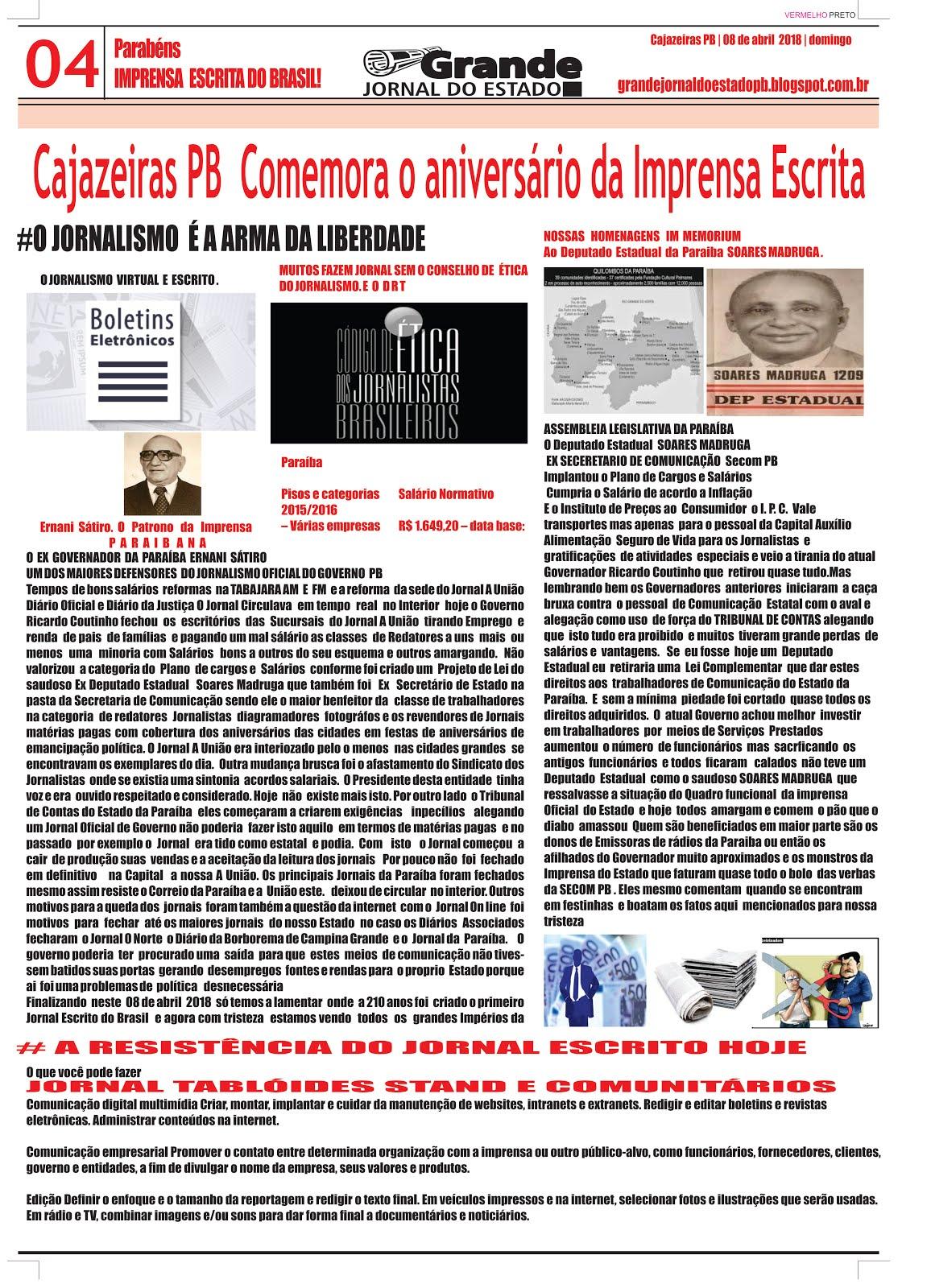 GRANDE JORNAL DO ESTADO DISTRUIBUIÇÃO PARA OS CONTEMPLADOS O AMIGO DA IMPRENSA ESCRITA