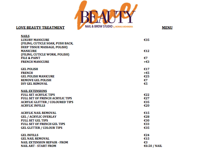 Heli\'sbeauties: Price List For Pennys Beauty Bar On Mary Street
