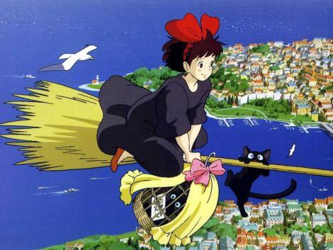 Kiki flying with Jiji Kiki's Delivery Service 1989 animatedfilmreviews.blogspot.com