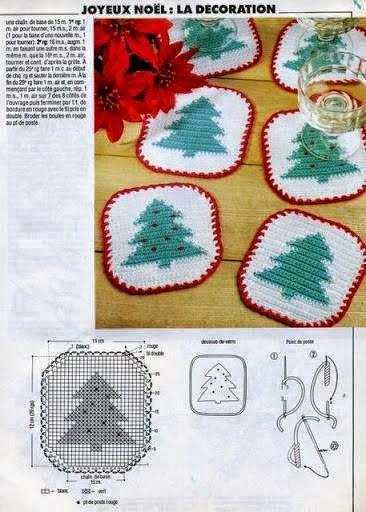 Agarradera con diseño de pino al crochet