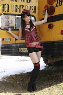 Shiori Ogiso Japanese Cute Idol Sexy Red Dress With Yellow School Bus 2