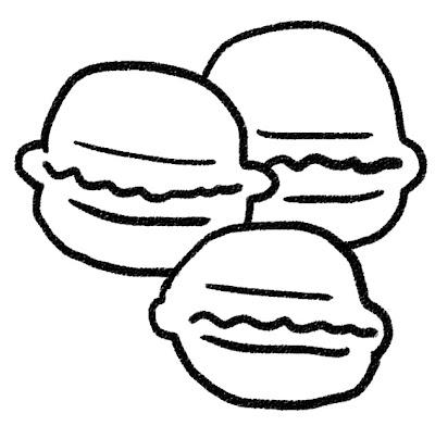 マカロンのイラスト(お菓子) モノクロ線画