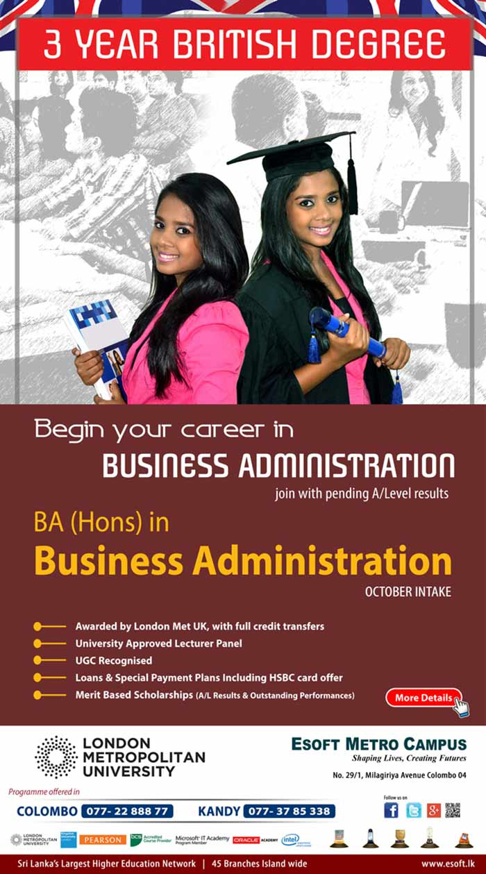 "A prestigious ""BA (Hons) in Business Administration "" degree awarded by London Metropolitan University, especially suitable for Students those who want to specialize in BA (Hons) in Business Management area."