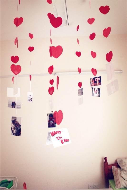 Decoration for him with hearts & our pictures