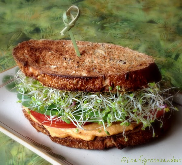 Roasted Red Bell Pepper Hummus Sandwich | Leafy Greens and Me