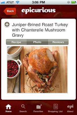 Epicurious Recipes & Shopping List - thanksgiving app