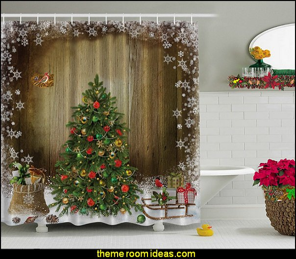 Christmas Holiday Designers Collection Digital Graphic Print Morning Shower Curtain Non Vinyl Waterproof
