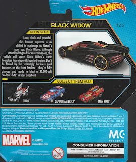 Back of 2014 Hot Wheels Black Widow