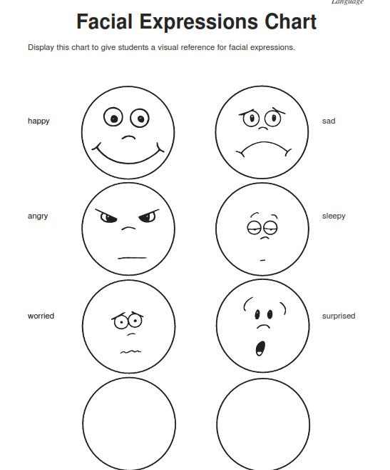 Free Emotions Facial Expressions Coloring Pages