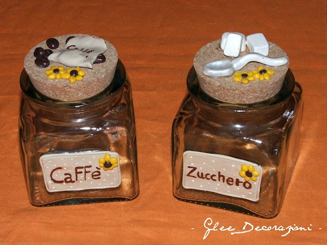 Barattoli zucchero e caff decorazione for Porta zucchero caffe sale
