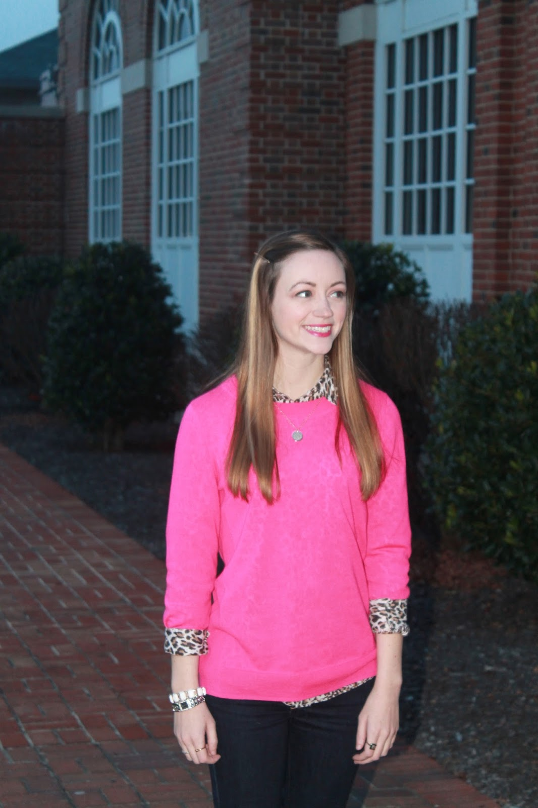 J.Crew cheetah print button up & pink sweater, Gold monogrammed necklace Marley Lilly