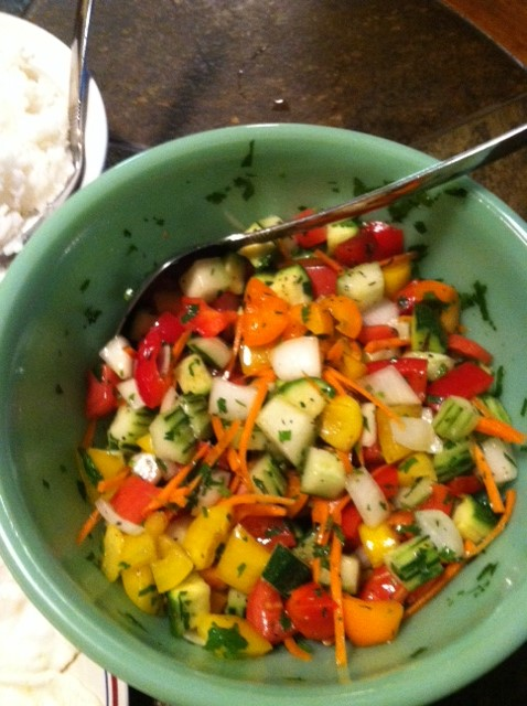 Raw Food Salad. Ingredients: zucchini, cucumber, bell pepper, cherry ...