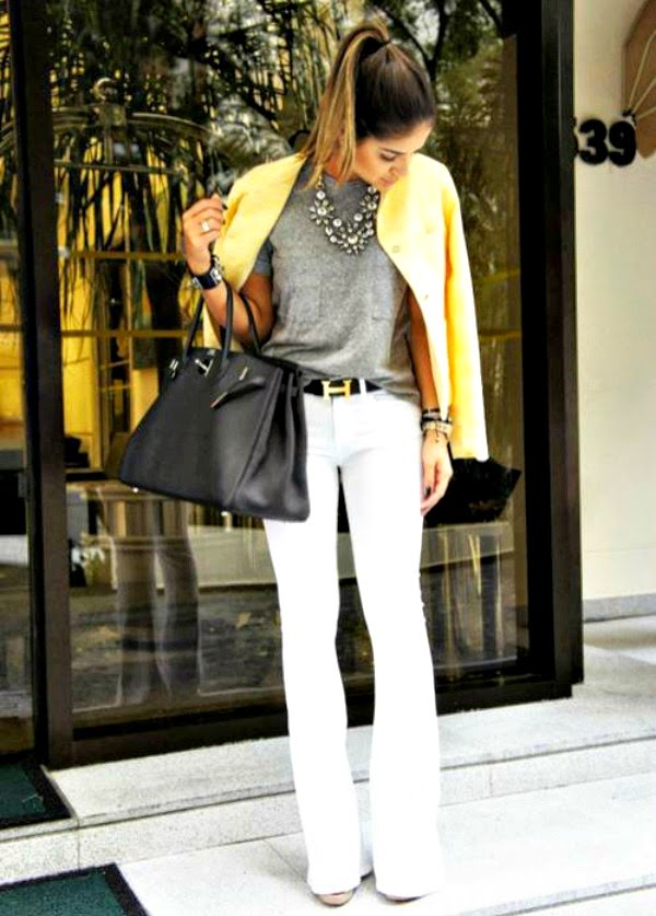 White pants yellow blazer