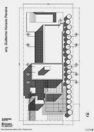 Plano arquitectónico de techos de la casa contemporánea