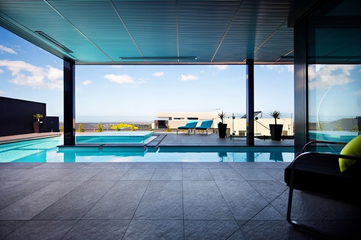 Ground floor covered terrace in Dream home in black and blue