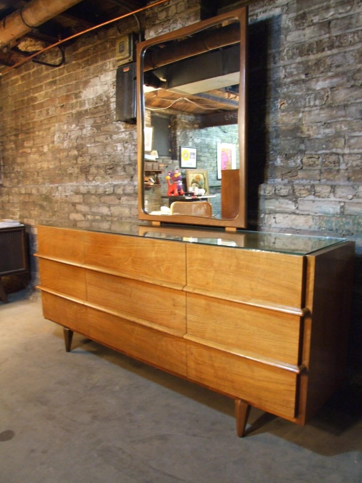 mid century chicago american of martinsville walnut lowboy dresser