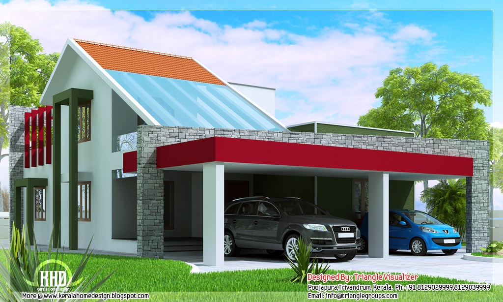 Contemporary unique 3 bedroom house kerala home design for Modern unique house plans