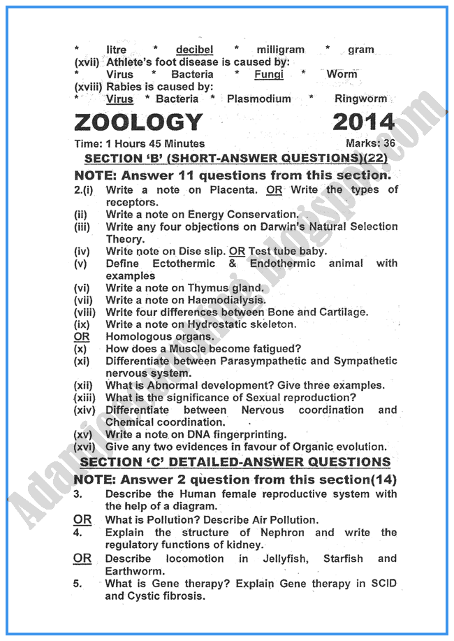 Zoology-2014-past-year-paper-class-XII
