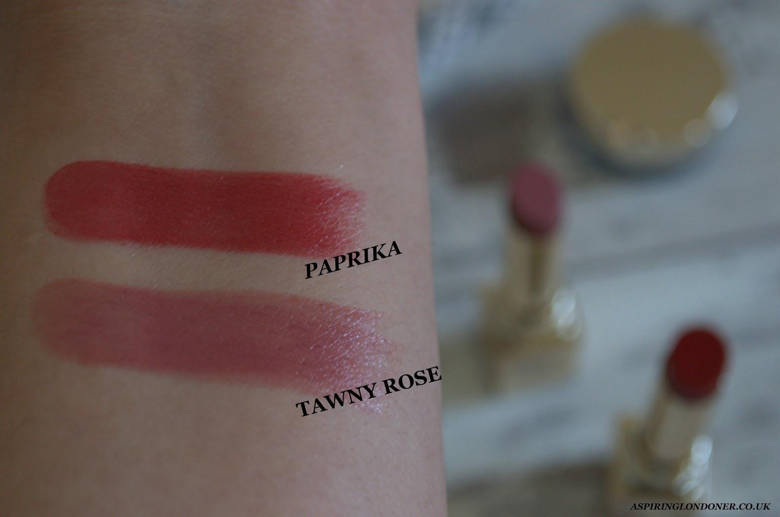 Clarins Rouge Eclat Lipstick Paprika, Tawny Rose Swatch - Aspiring Londoner
