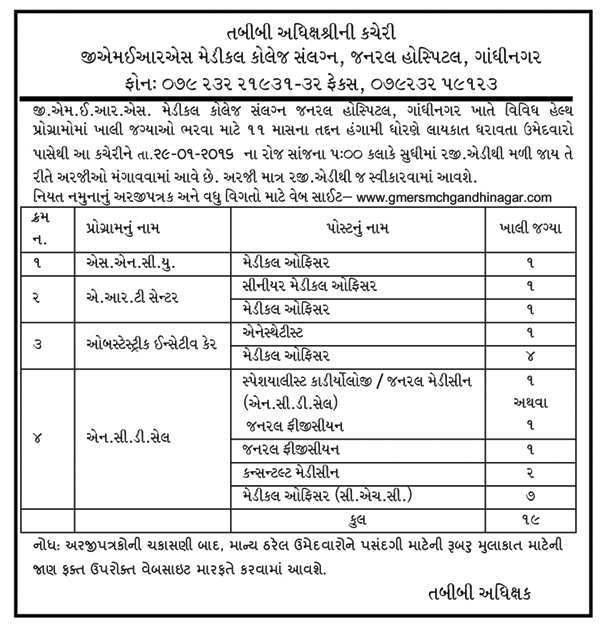 General Hospital, Gandhinagar Recruitment 2016