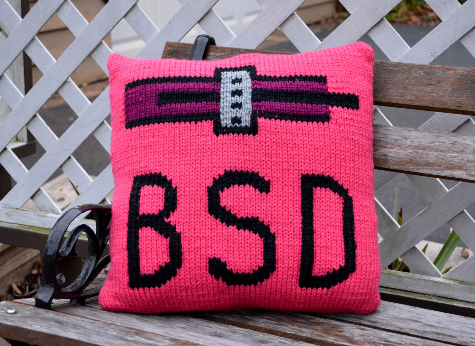 cozy birdhouse | knit pink icon pillow