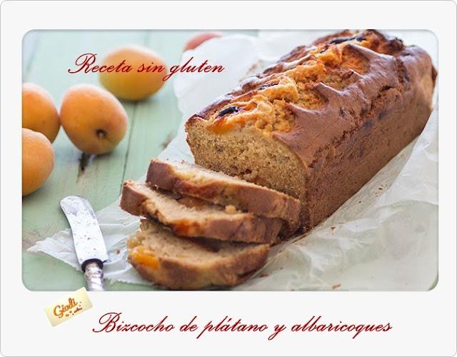 Bizcocho De Plátano Y Albaricoques. Receta Sin Gluten