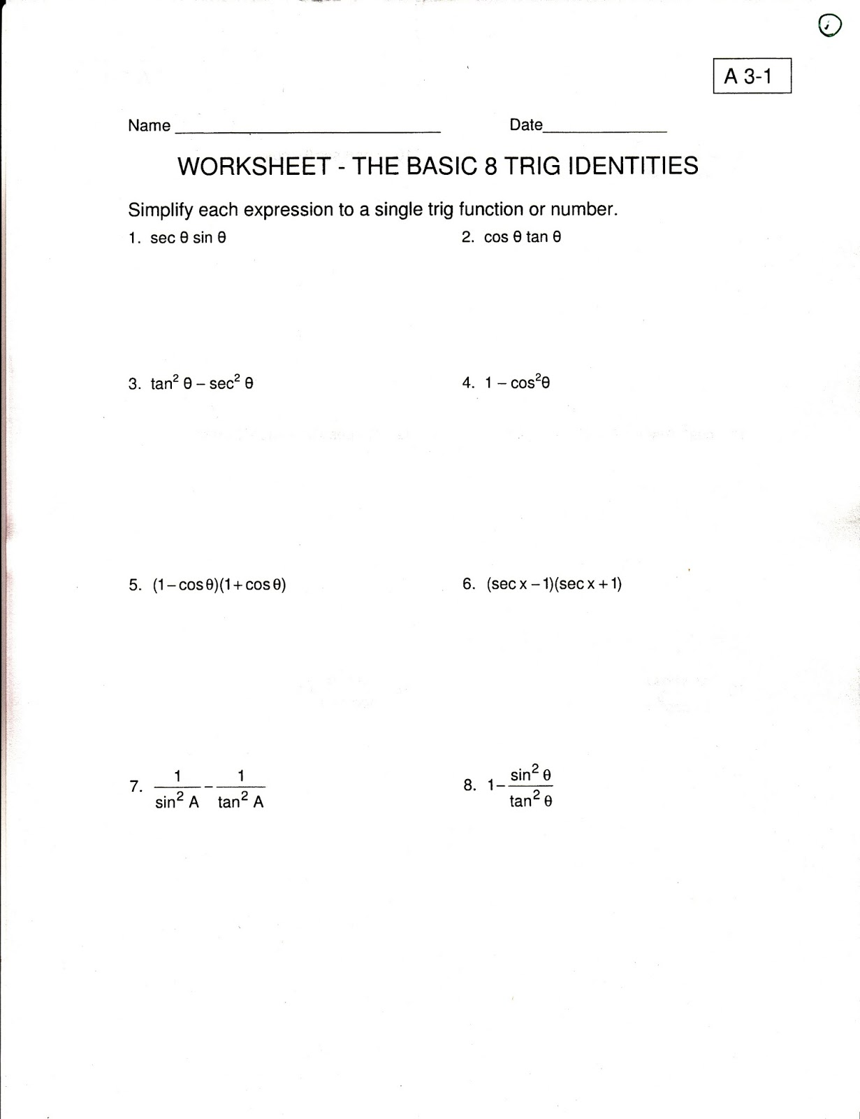 worksheet Verify Trig Identities Worksheet ehhs precalculus 2015 identities and real math are about trying different strategiesideas some may work others not if you try something it leads to a dead end