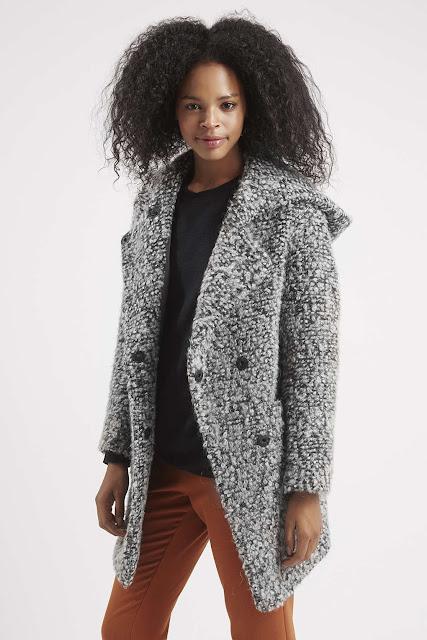 boucle hooded coat, grey hooded cardigan,