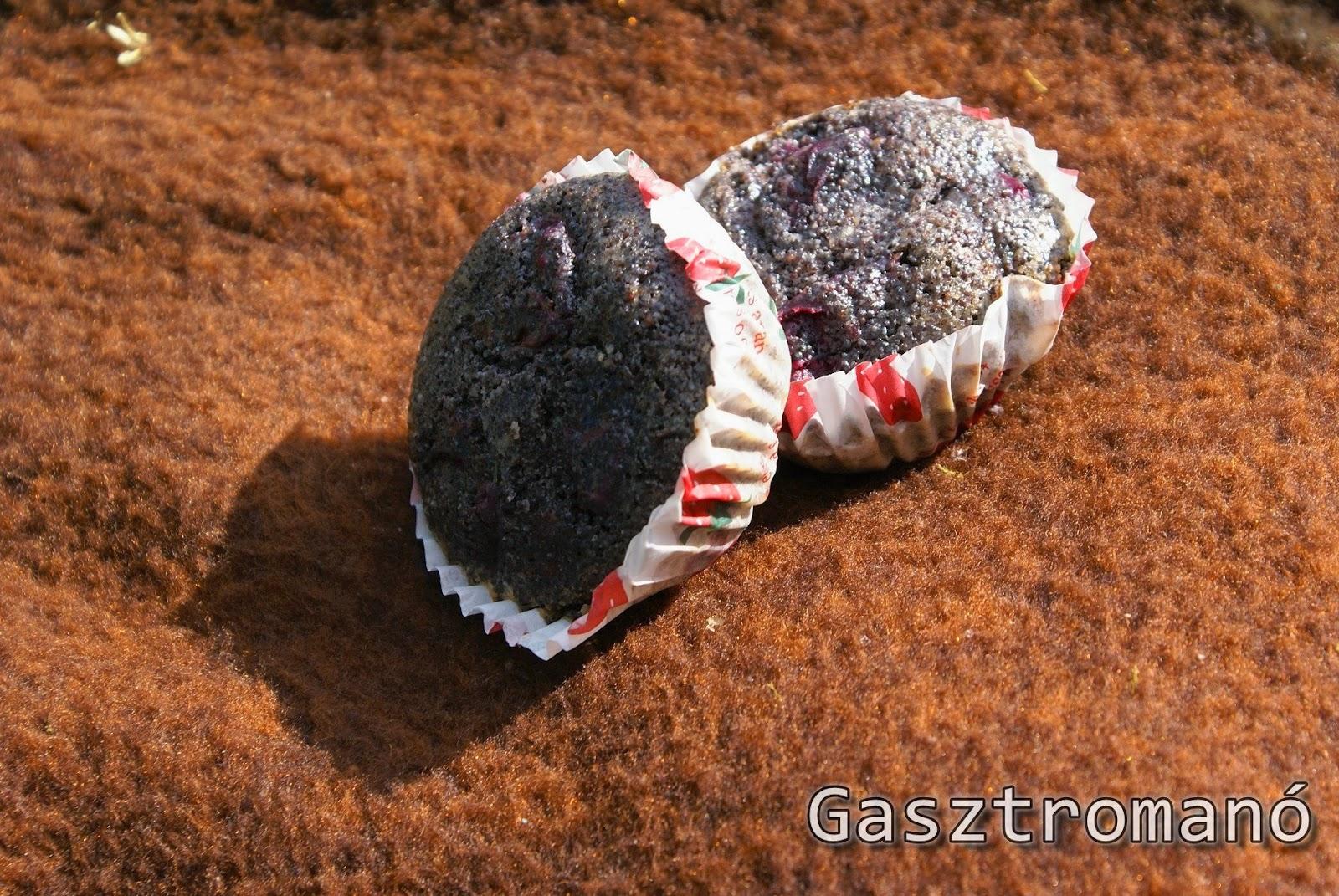 meggyes mákos muffin, egyszerű meggyes mákos muffin recept képekkel, gyors muffin, meggyszezon, meggy felhasználása