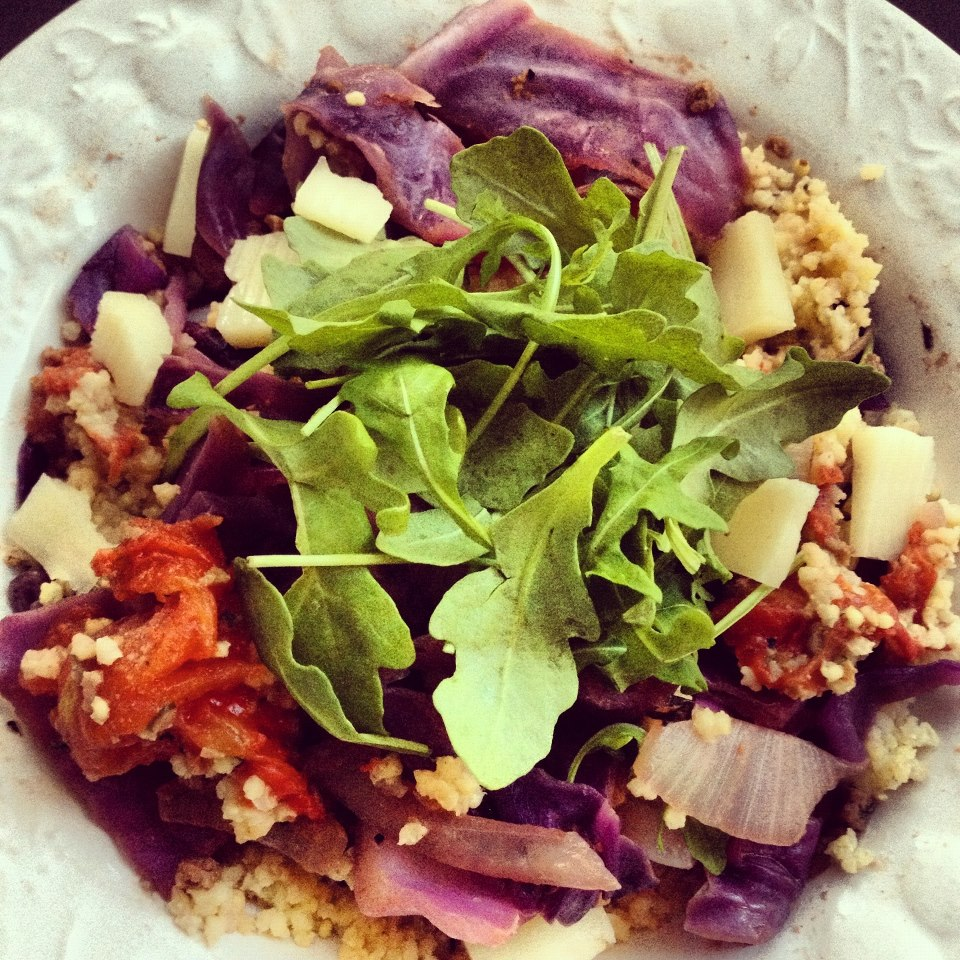 ... Nutrition : Sauteed cabbage, onions and garlic w/ millet and arugula