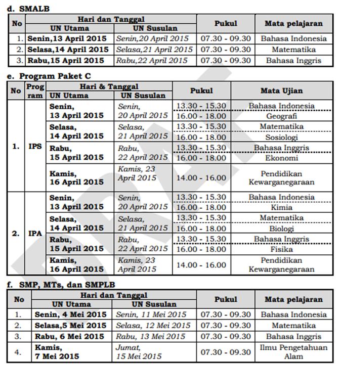 Jadwal Ujian SMALB Program Paket C dan SMP/MTs/SMPLB