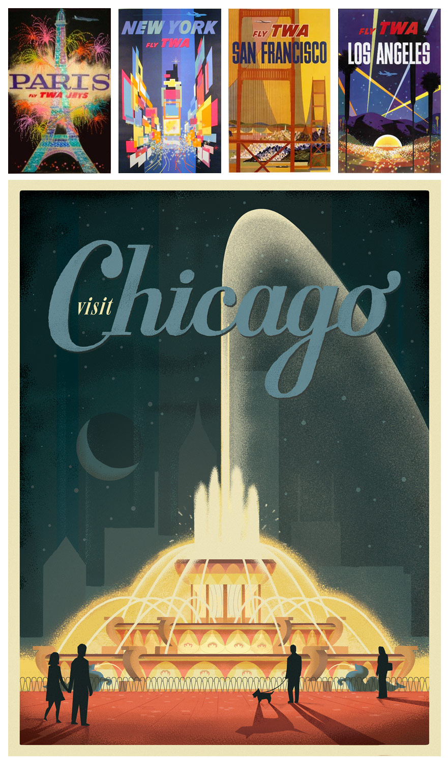 Poster design 20th century - Below Are Examples Of The Period Range Our Chicago Designs Have Covered From Julian Baker S Early 20th Century Water Tower Design To Shelby Roddifer S
