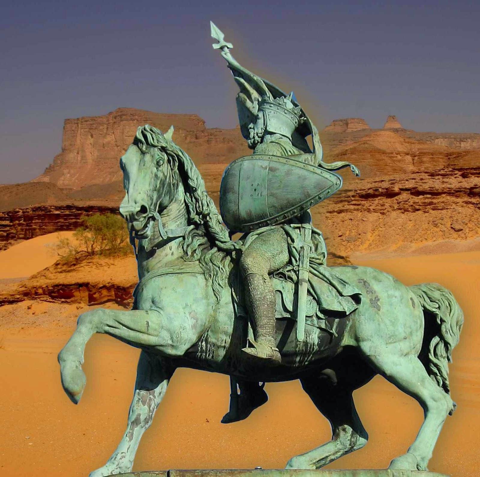 Godofredo de Bouillon, estátua equestre em Bruxelas. Fundo: deserto.
