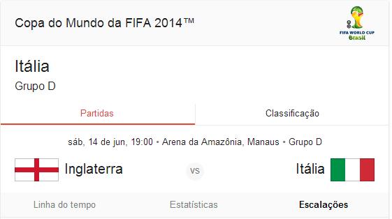 Horário do jogo Inglaterra x Itália 14/06/2014 Copa do Mundo Sábado 14 de junho