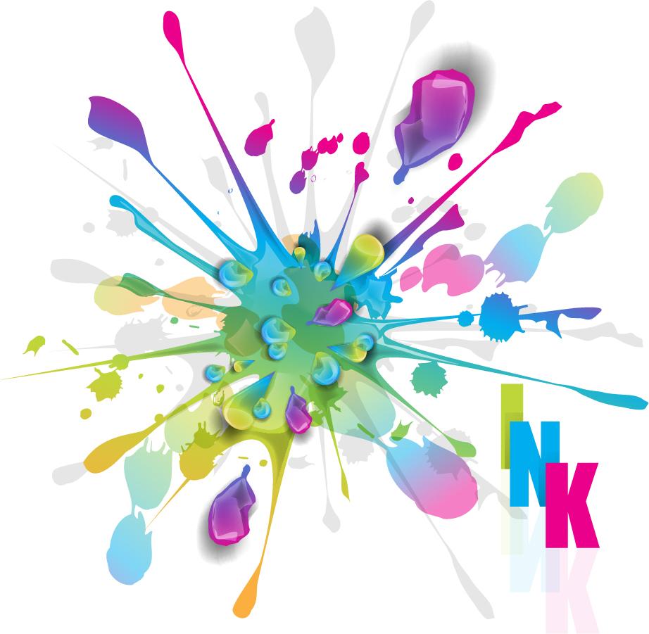 四方に飛び散るインクのクリップアート Splashes of Colorful Ink Vector Art イラスト素材