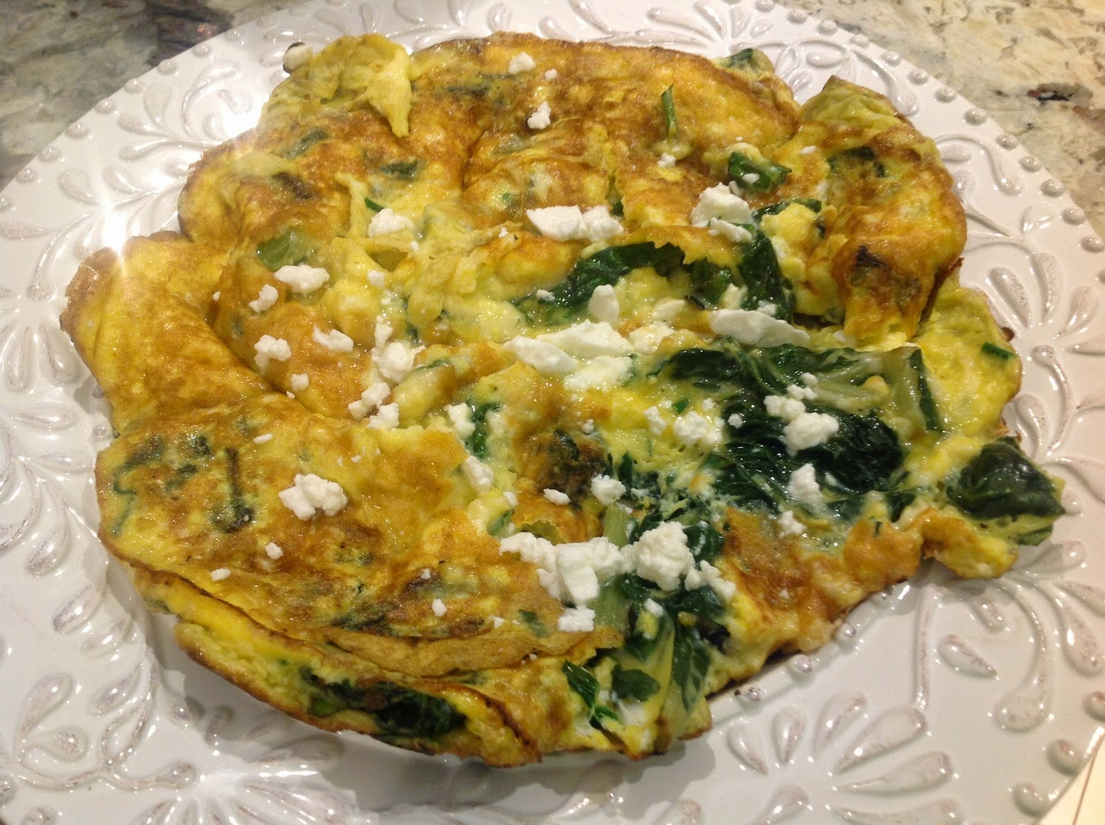 omelette with swiss chard and feta cheese