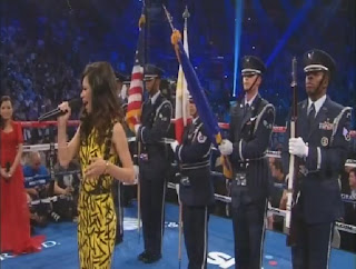 Jessica Sanchez sings US National Anthem in Pacquiao Vs Bradley Fight