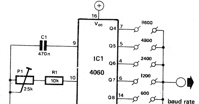 simple baud rate generator circuit ic 4060 output pin out