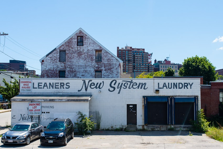 August 2015 Portland, Maine USA New System Laundry sign in Bayside near Kennebec and Parris Streets. Photo by Corey Templeton.
