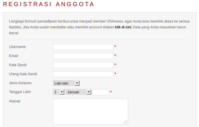 form registrasi anggota vivalog