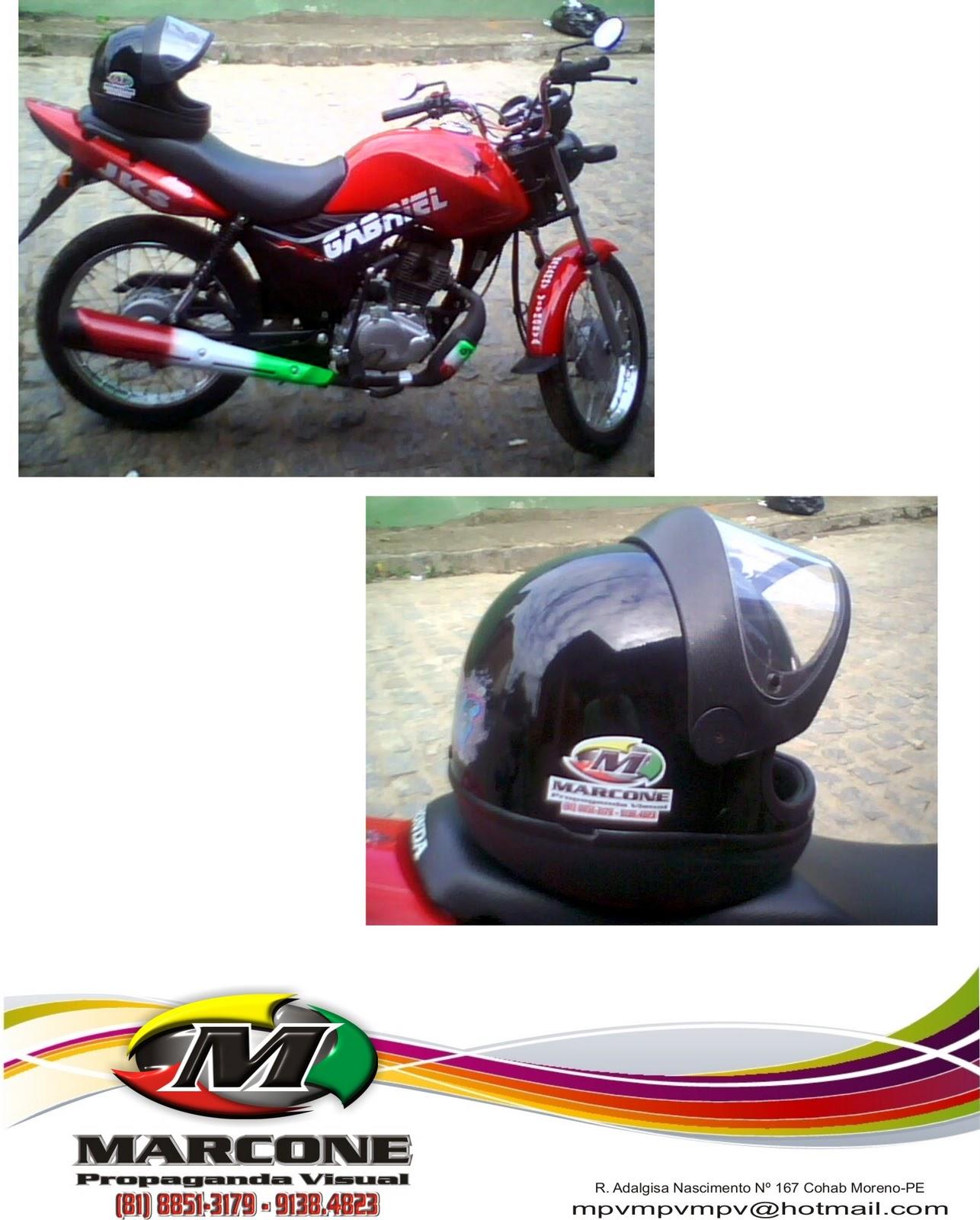 Artesanato Fortaleza Loja ~ Marcone propaganda visual adesivo para moto
